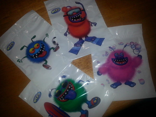Several different monsters and sports on Wexy Bags