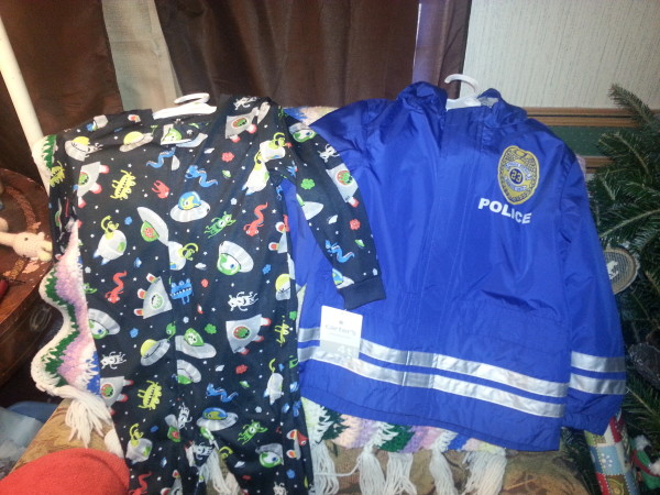 Footy pajamas and a Police jacket for my Willie!