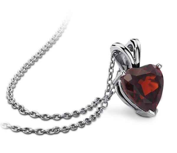 Garnet Heart Pendant in Sterling Silver from Blue Nile