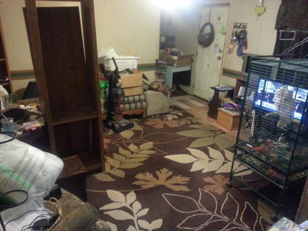 New floor looking from kitchen to front door