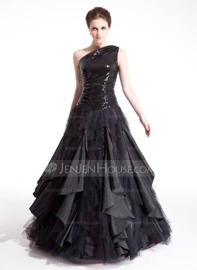 JenJenHouse Black One Shoulder Ruffle