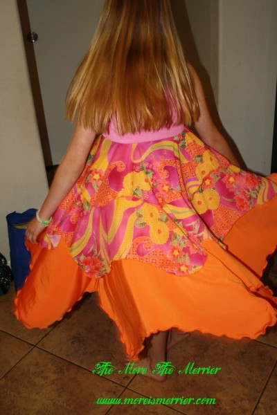 Back of Geli's TwirlyGirl® dress while twirling