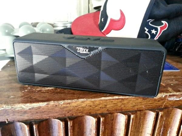 The Liztek Ultra Portable Speaker on my son's dresser