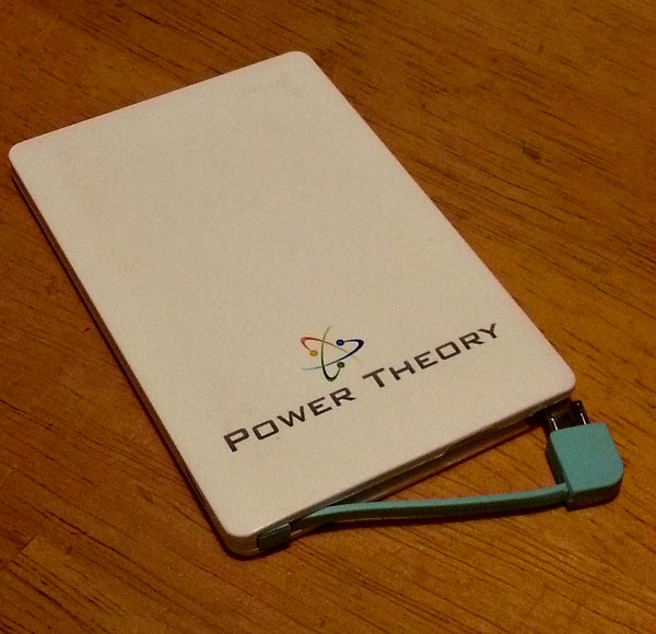 Power Theory Credit Card Sized Battery charger has it's own cord!
