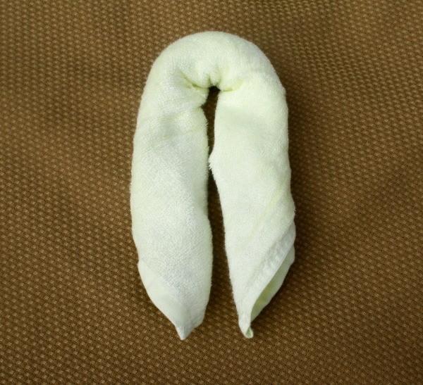 Fold rolled Brooklyn Bamboo Baby Washcloth in half