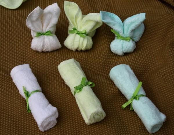 Bunnies made with Brooklyn Bamboo Baby Washcloths