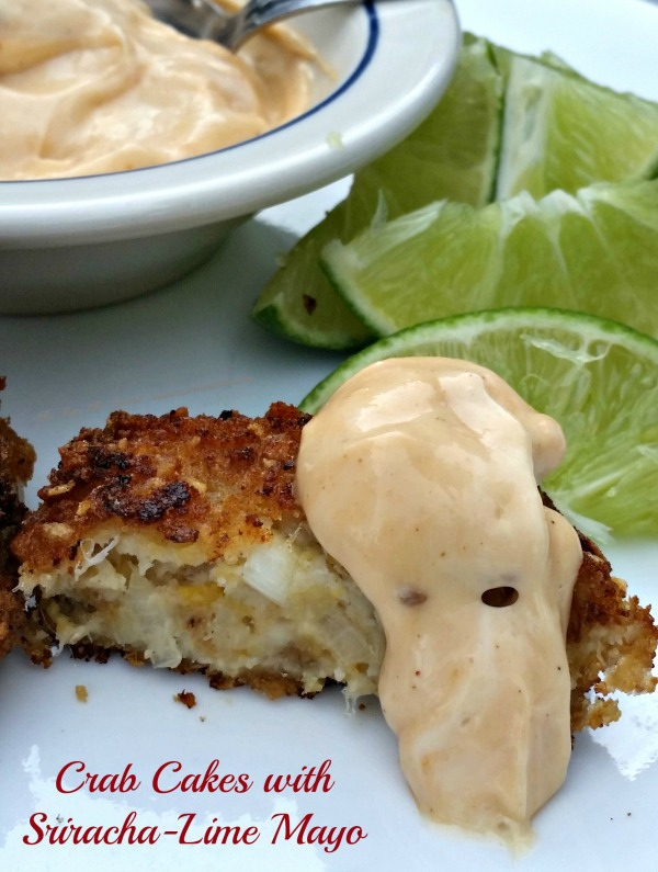 Crab Cakes with Sriracha-Lime Mayo made with Honey Bunches of Oats!