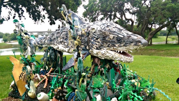 Shark trash sculpture by The Washed Ashore Project