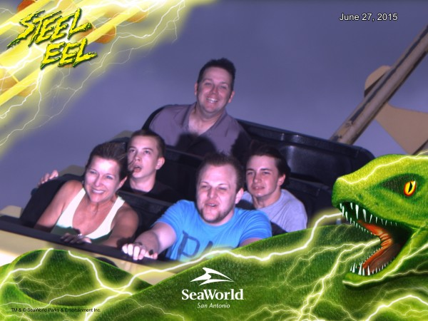 My boys (middle seat) on Steel Eel at SeaWorld® San Antonio