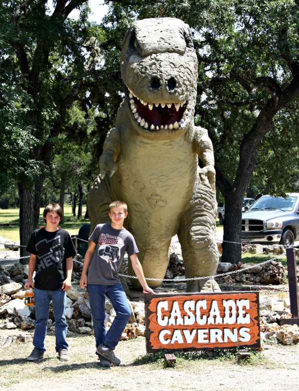 My boys with the Awesome TRex at Cascade Caverns