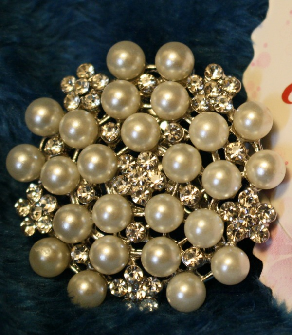 Imitation Pearl and Crystal Brooch from Valdler