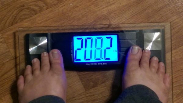 My weight after being on Nutrisystem Turbo 10 - Week 1! From 217 to 208!