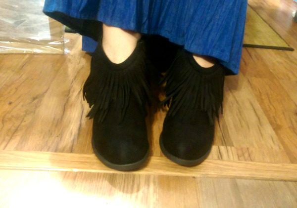 These great fringed black ankle boots are available on Amazon.com from ZooShoo