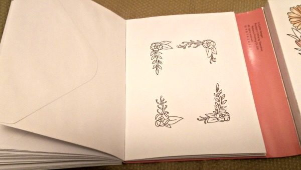 The envelopes for the Greeting Cards also require coloring.