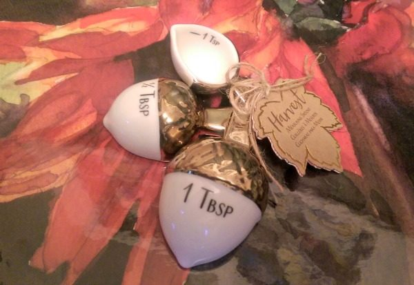 Gold Tipped Ceramic Acorn Measuring Spoons Fall Wedding Favors