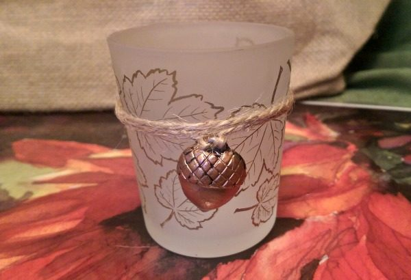 Leaf Print Tea Light Holder Fall Wedding Favor