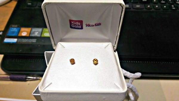 These 14K gold post birthstone earrings are the perfect gift for my granddaughter.