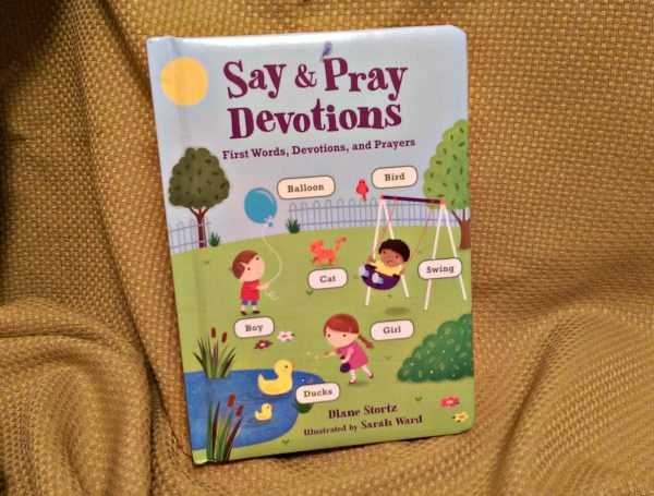 The Say & Pray Devotions book helps children learn their reading, Bible verses, and how to pray