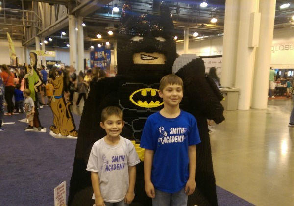 The boys with Batman made of LEGO® Bricks