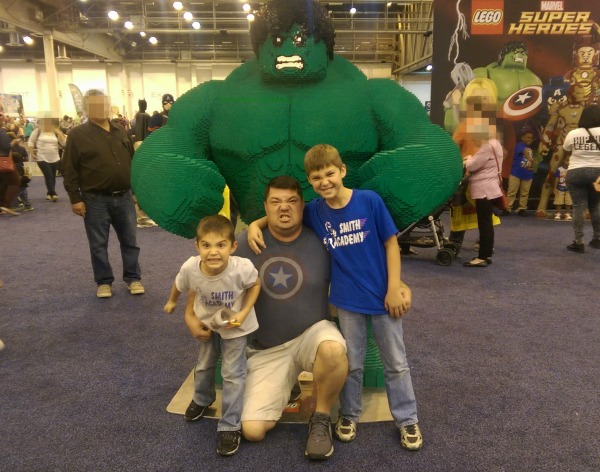 Hulk made of LEGO bricks, my son, and the grandkids