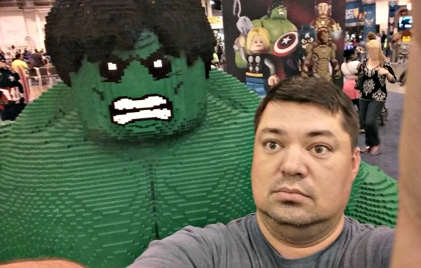 My son's selfie with HULK made of LEGO bricks!