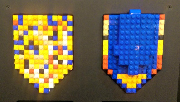 The NEXO KNIGHTS shields that the boys made of LEGO bricks.