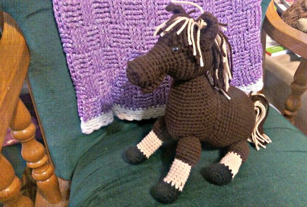 Crocheted Brown Horse
