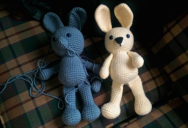 I just need to sew up the blue bunny and make their clothes!