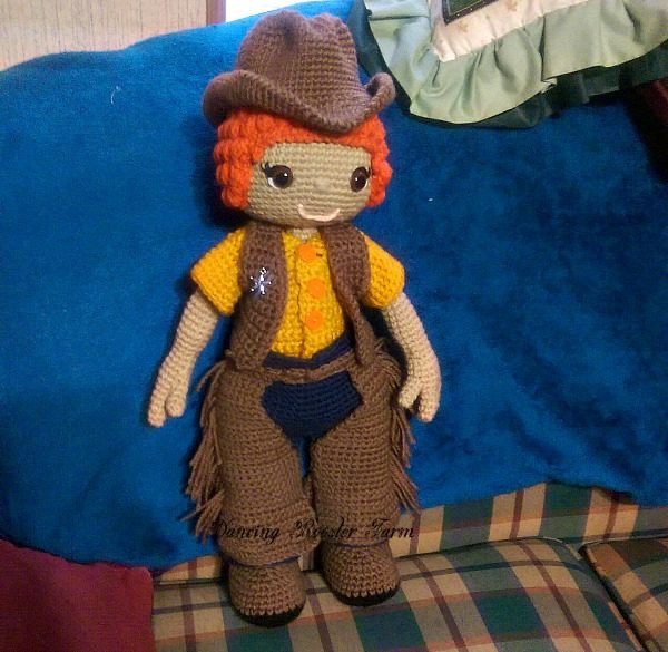 Clint the Cowboy. Pattern by Croc's Betty on Etsy.com