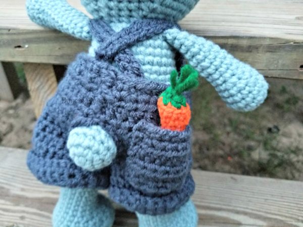 Blue Boy Bunny's backside from the pattern Dress Me Bunny by Sharon Ojala