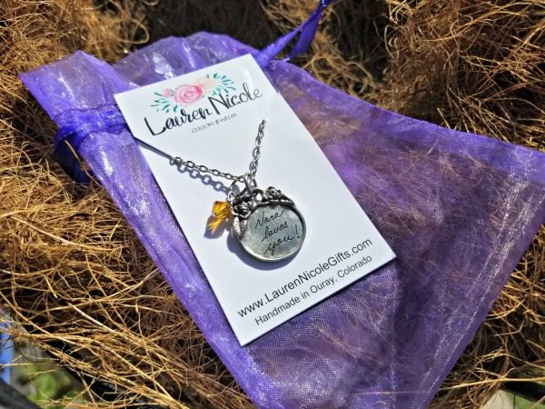 The beautiful Handwriting Victorian Pendant from Lauren Nicole Gifts is perfect gift from grandparents.