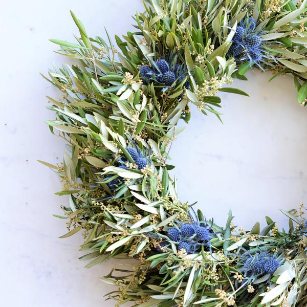 Blue Thistle and Olive Leaf Wreath