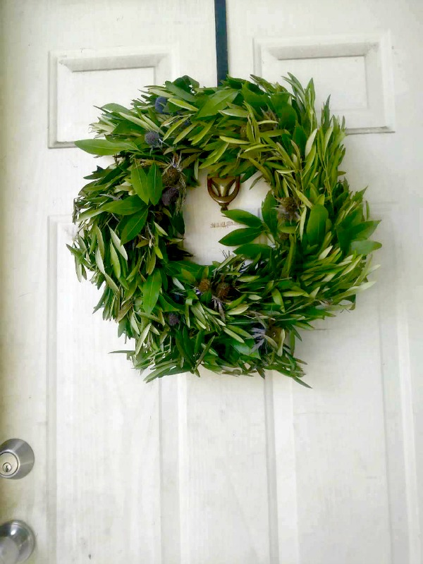 Blue Thistle and Olive Branch Wreath from Club Botanic